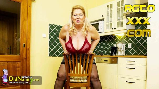 Jana T [OldNanny.com] Blonde czech mature with mega big boobs [2017/HD]